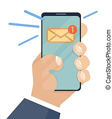 Email notification on smartphone and in hand