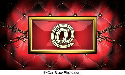 email on velvet background
