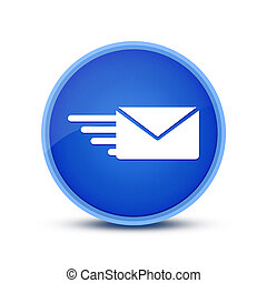 Email option icon isolated on blue round button abstract