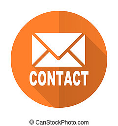 email orange flat icon contact sign