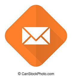 email orange flat icon post sign