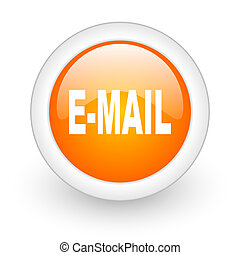 email orange glossy web icon on white background