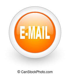 email orange glossy web icon on white background