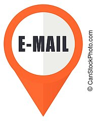 Email orange pointer vector icon in eps 10 isolated on white background.