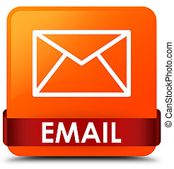 Email orange square button red ribbon in middle