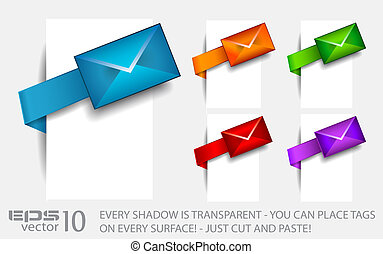 Email paper tag with transparent shadows. Ready to cut and...