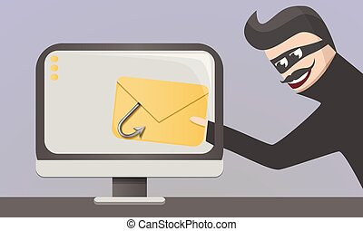 Email phishing concept background, cartoon style