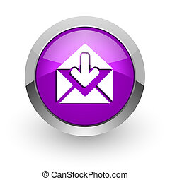 email pink glossy web icon