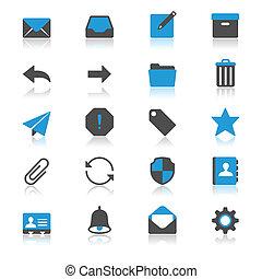 email, plat, met, reflectie, iconen