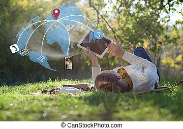 Email, Pojęcie, technologia, używając, dostać, fotografia,...