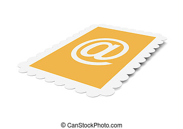 Email Postage stamp - 3D Illustration. Isolated on white.