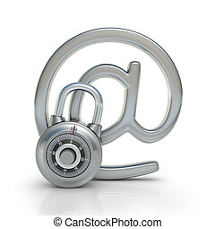Email Protected - Email protected by a padlock. Concept of ...