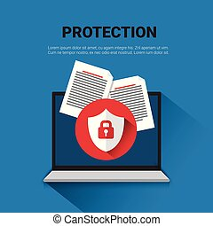 Email Protection Concept Laptop With Lock Data Security Banner