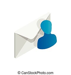 Email recipient icon in isometric 3d style isolated on white background. Closed envelope and avatar icon