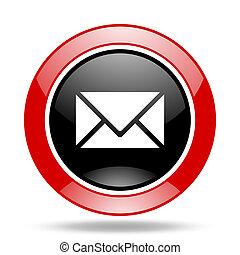 email red and black web glossy round icon
