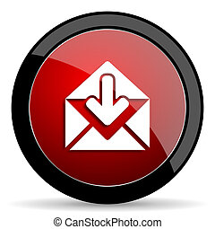 email red circle glossy web icon on white background - set440
