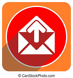 email red flat icon isolated