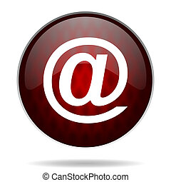 email red glossy web icon on white background