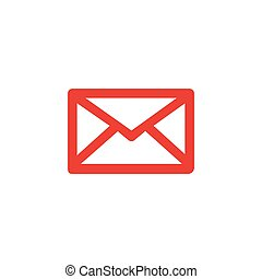 Email Red Icon On White Background. Red Flat Style Vector Illustration