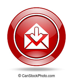 email red web glossy round icon