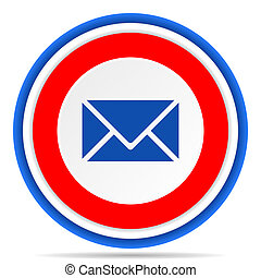 Email round icon, red, blue and white french design illustration for web, internet and mobile applications