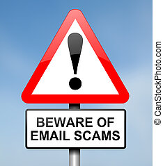 Email scam concept. - Illustration depicting red and white...