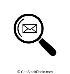 Email search Icon in flat style Mail search symbol