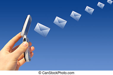 Email sending - Email is sending via wireless device. Mobile...
