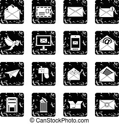 Email set icons, grunge style