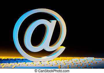 email sign and computer keyboard.