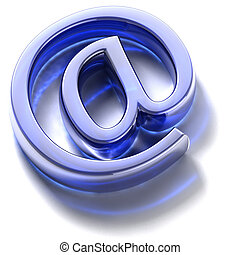 Email sign. Blue glass - Symbol e-mail, built in...