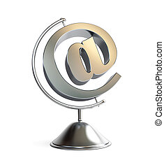 email sign globe 3d Illustrations on a white background