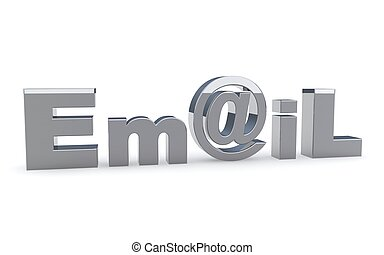 Email sign icon on the white. 3D illustration