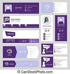 Email signature template. Office business visit cards for webmail user interface vector set