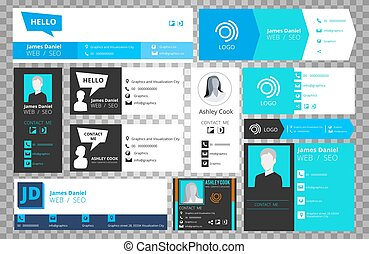 Email signature templates isolated on transparent background. Vector office business visit cards for webmail user interface collection
