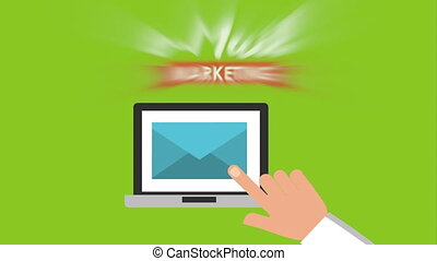 email social media marketing with laptop , hd video animation