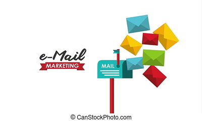 email social media marketing with mailbox , hd video animation