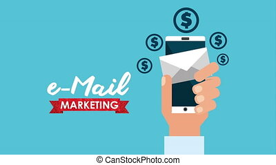 email social media marketing with smartphone , hd video animation
