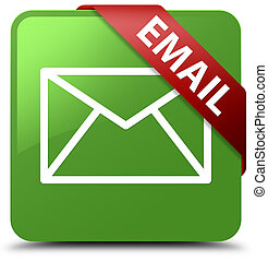 Email soft green square button red ribbon in corner