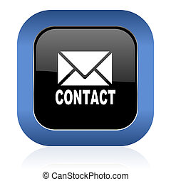 email square glossy icon contact sign