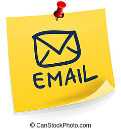 Email Sticky Note - Yellow paper with red pin isolated on ...