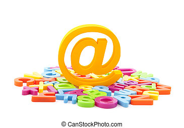 Email symbol and colorful letters