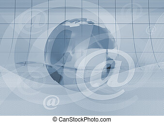 email symbol and earth