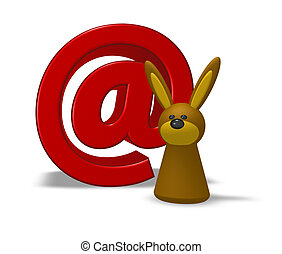 email symbol and easter bunny on white background - 3d illustration