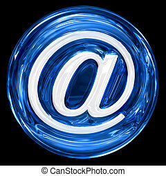 email symbol blue, isolated on black background.