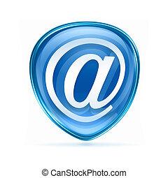 email symbol blue, isolated on white background.