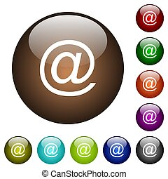 Email symbol color glass buttons