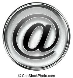 email symbol grey, isolated on white background.