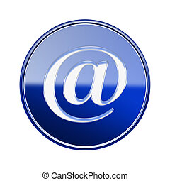 Email symbol icon glossy blue, isolated on white background