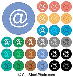 Email symbol round flat multi colored icons
